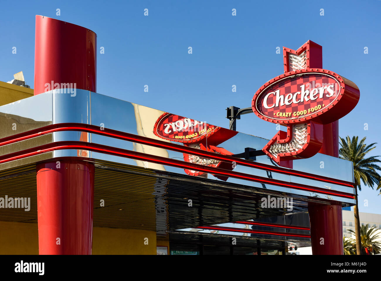 Checkers fast food restaurant sign and storefront Stock Photo