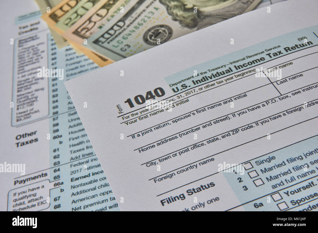 US tax form 1040 - Stock Image