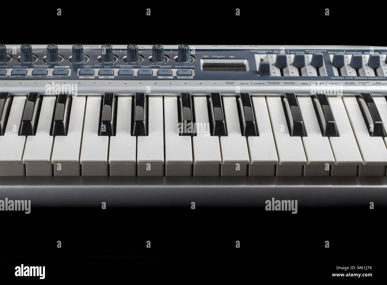 MIDI Keyboard in music studio - Stock Image