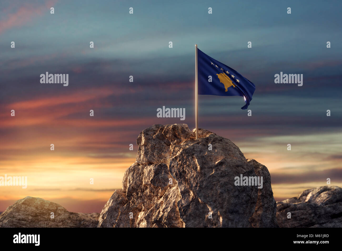 3d rendering of waving Kosovo flag on rocky landscape to celebrate the independence day of 17 February Stock Photo