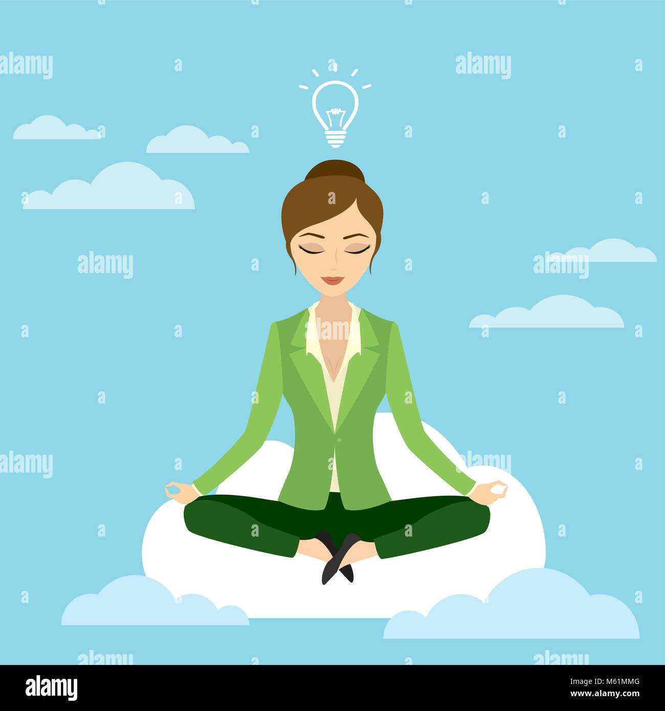 business woman in lotus position sitting on a cloud - Stock Vector