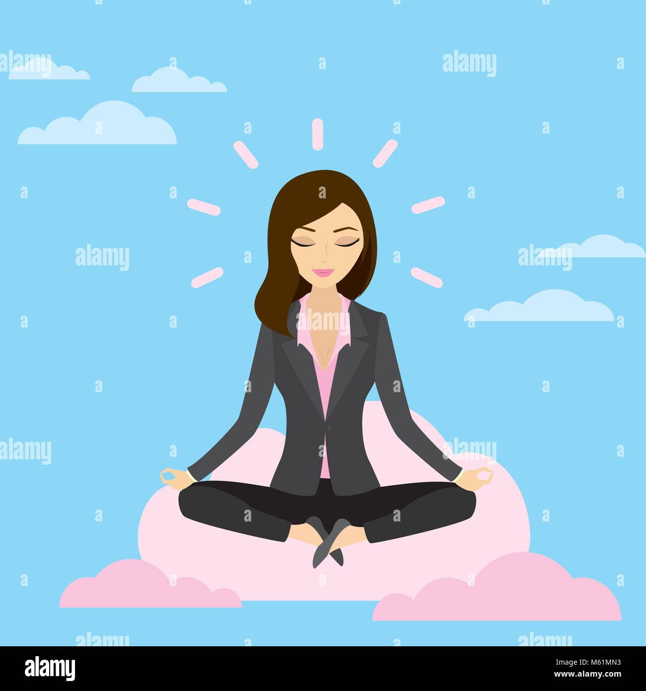 Business woman is meditating and relaxing with cloud computing i - Stock Vector