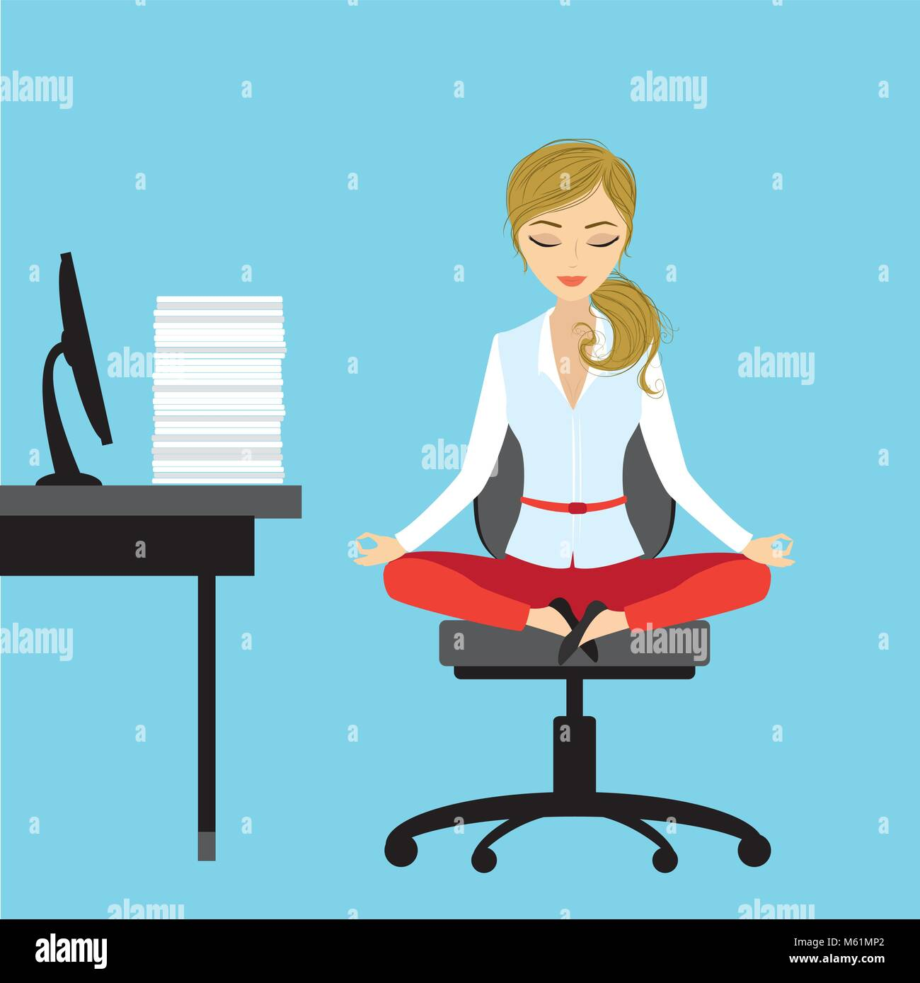 Office worker relaxes and meditates in the lotus position on the - Stock Vector