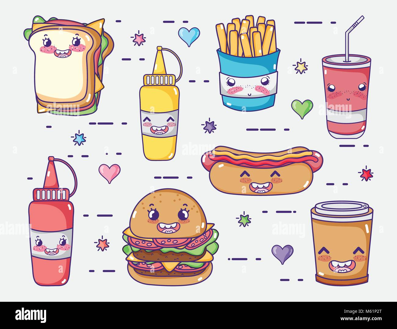 Kawaii Burger Fast Food Icon High Resolution Stock Photography And Images Alamy