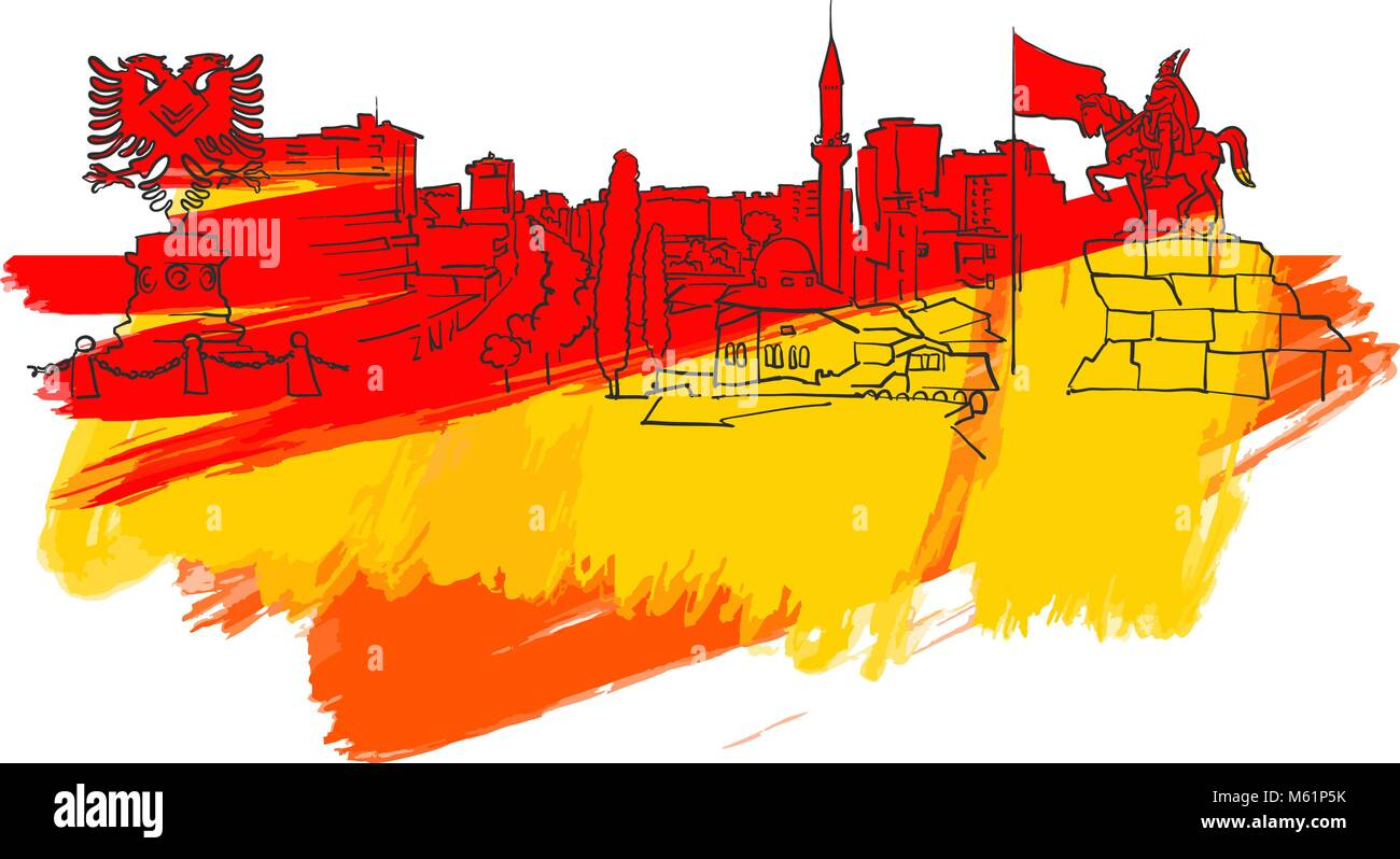 Tirana Albania Colorful Landmark Banner. Beautiful hand drawn vector sketch. Travel illustration for social media - Stock Vector