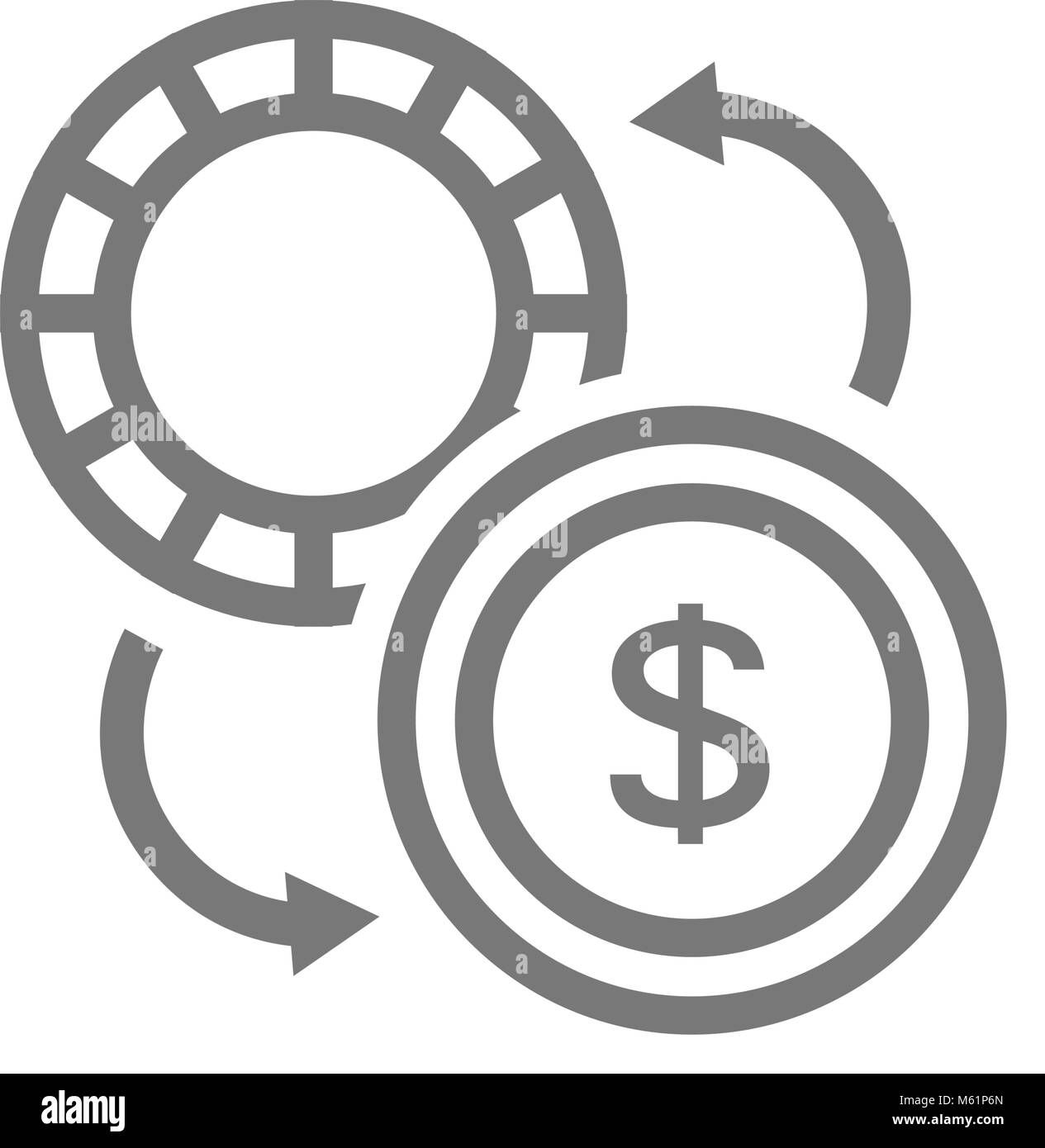 Simple Currency Converter Line Icon Symbol And Sign Vector Stock