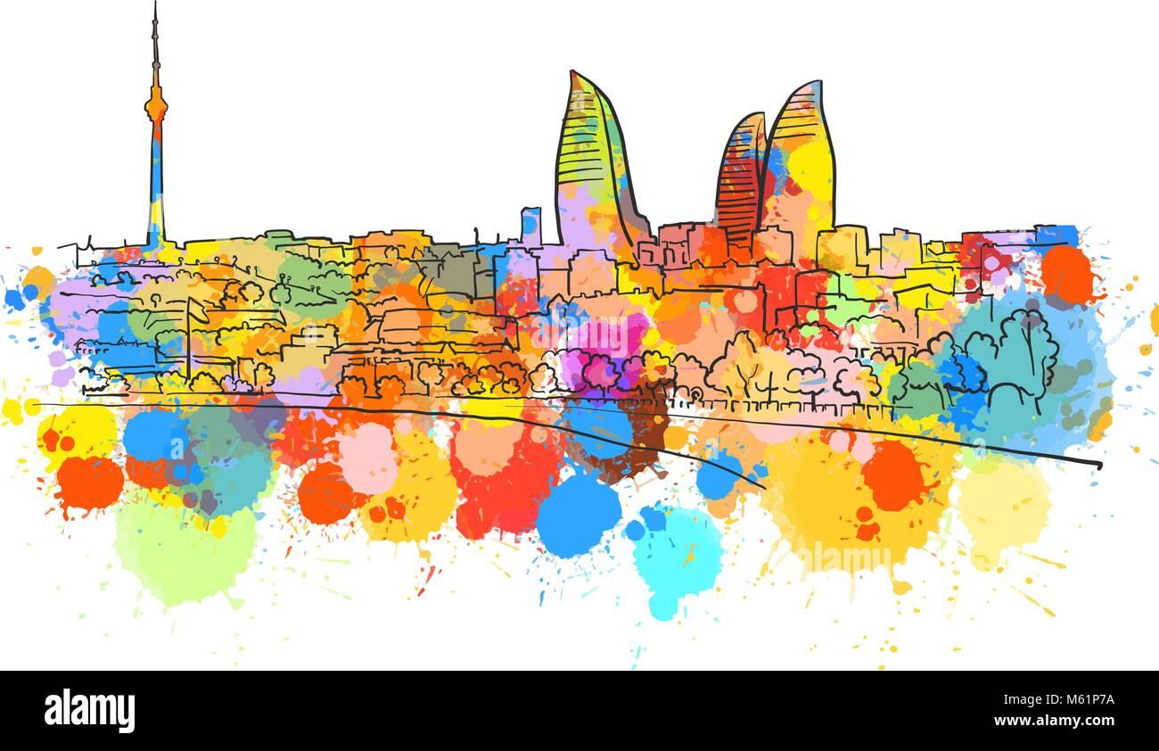 Baku Azerbaijan Colorful Landmark Banner. Beautiful hand drawn vector sketch. Travel illustration for social media - Stock Vector