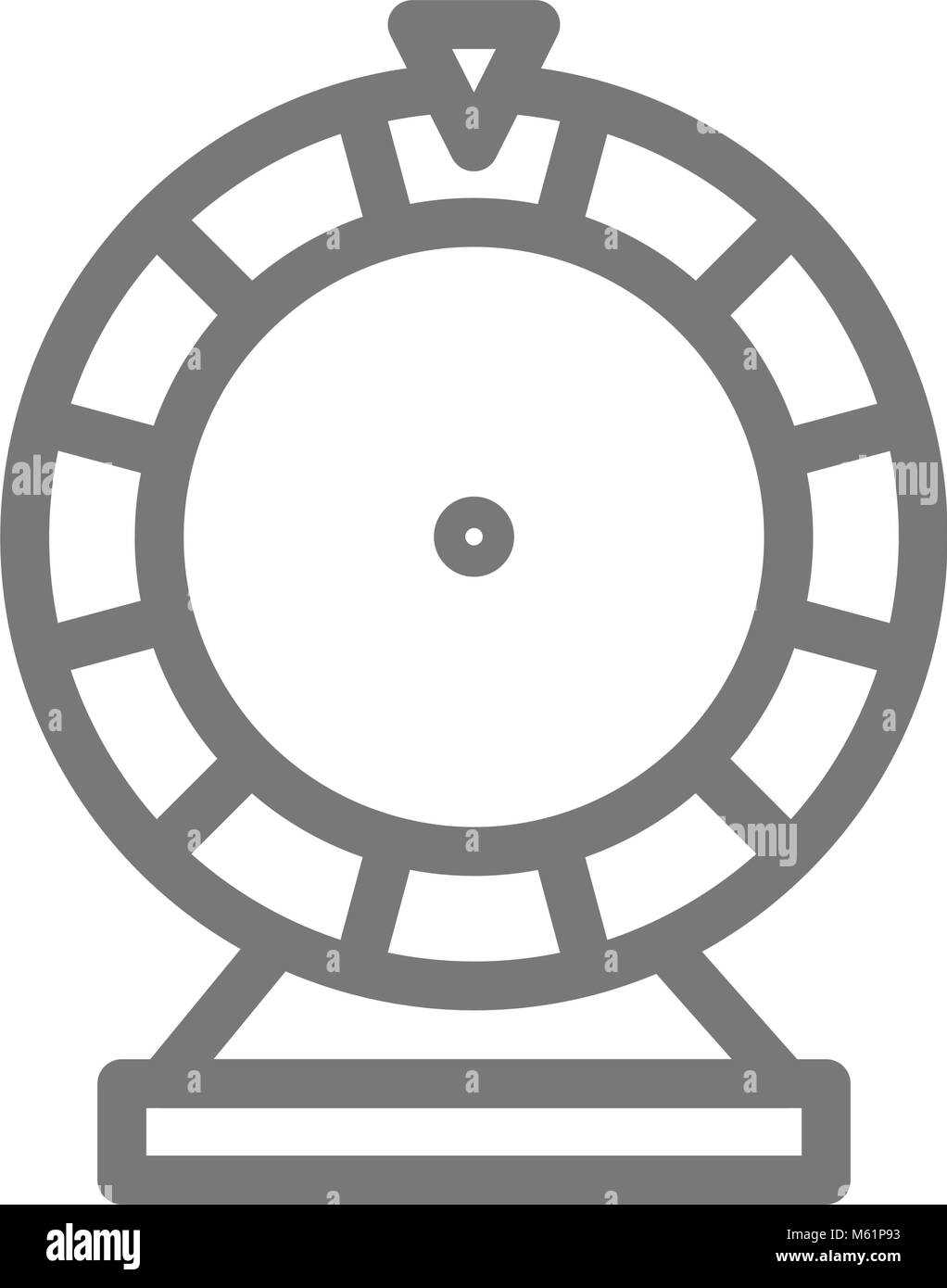 Simple wheel of fortune line icon. Symbol and sign vector illustration design. Isolated on white background - Stock Vector