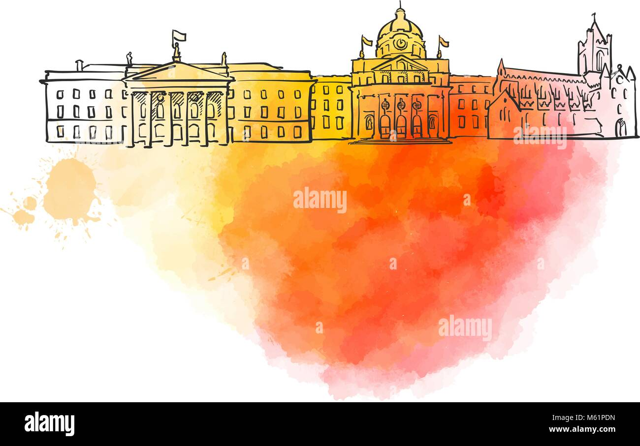 Dublin Colorful Landmark Banner. Beautiful hand drawn vector sketch. Travel illustration for social media marketing - Stock Image