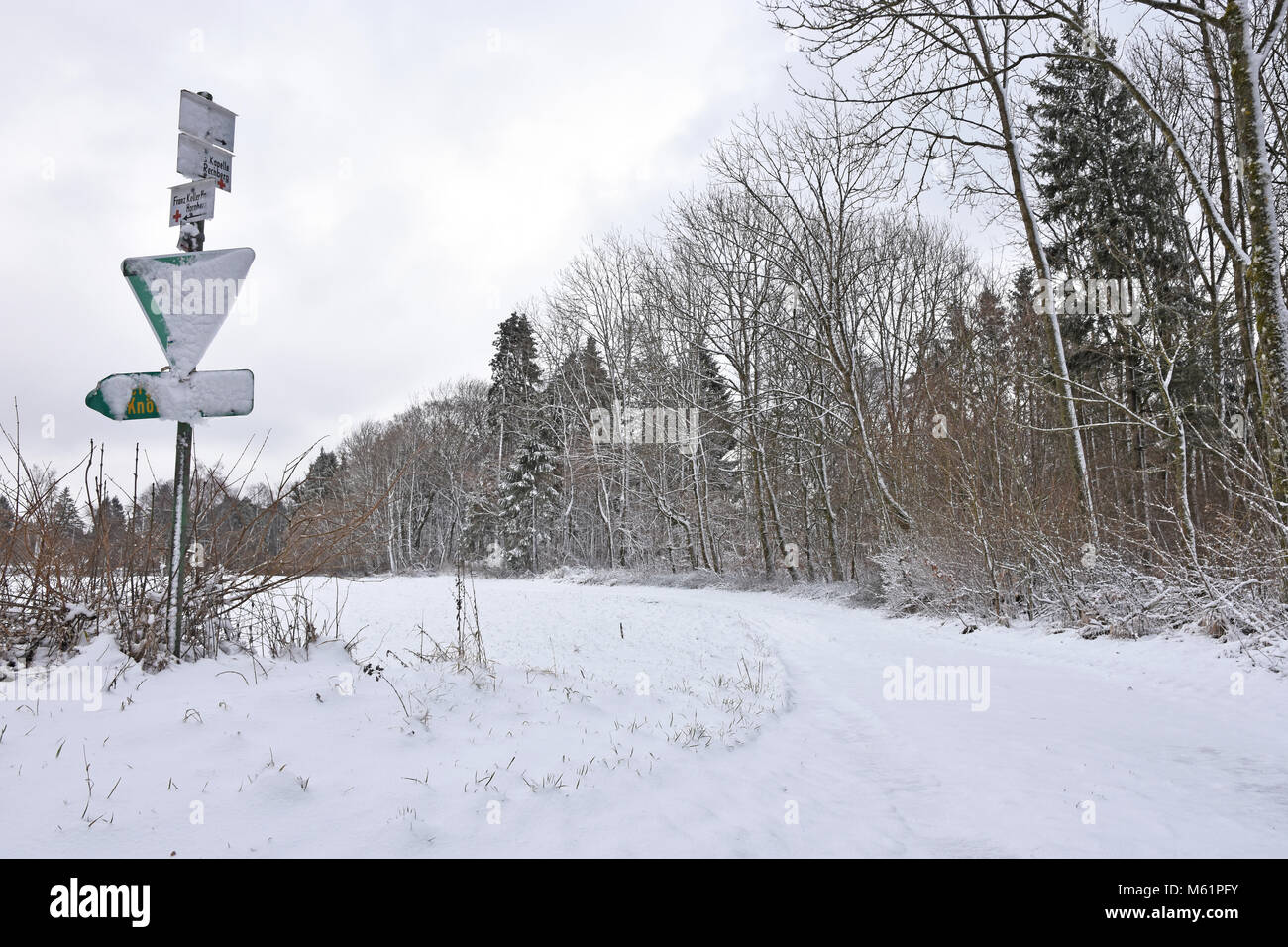 Winter landscape at the Swabian Alb. Baden-Wuerttemberg, Germany - Stock Image