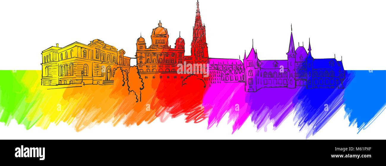 Bern Colorful Landmark Banner. Beautiful hand drawn vector sketch. Travel illustration for social media marketing - Stock Vector