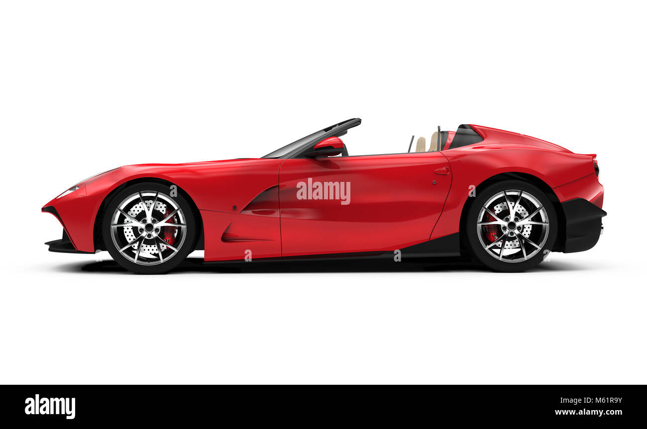 lateral view of a red convertible car: 3D illustration - Stock Image