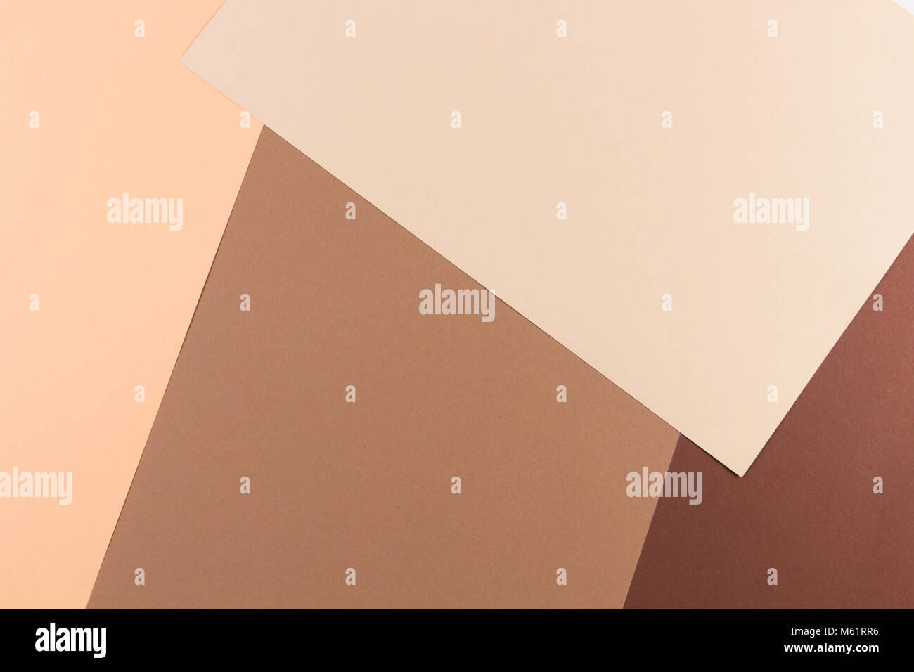 Color papers geometry composition background with pink, beige and brown tones. - Stock Image