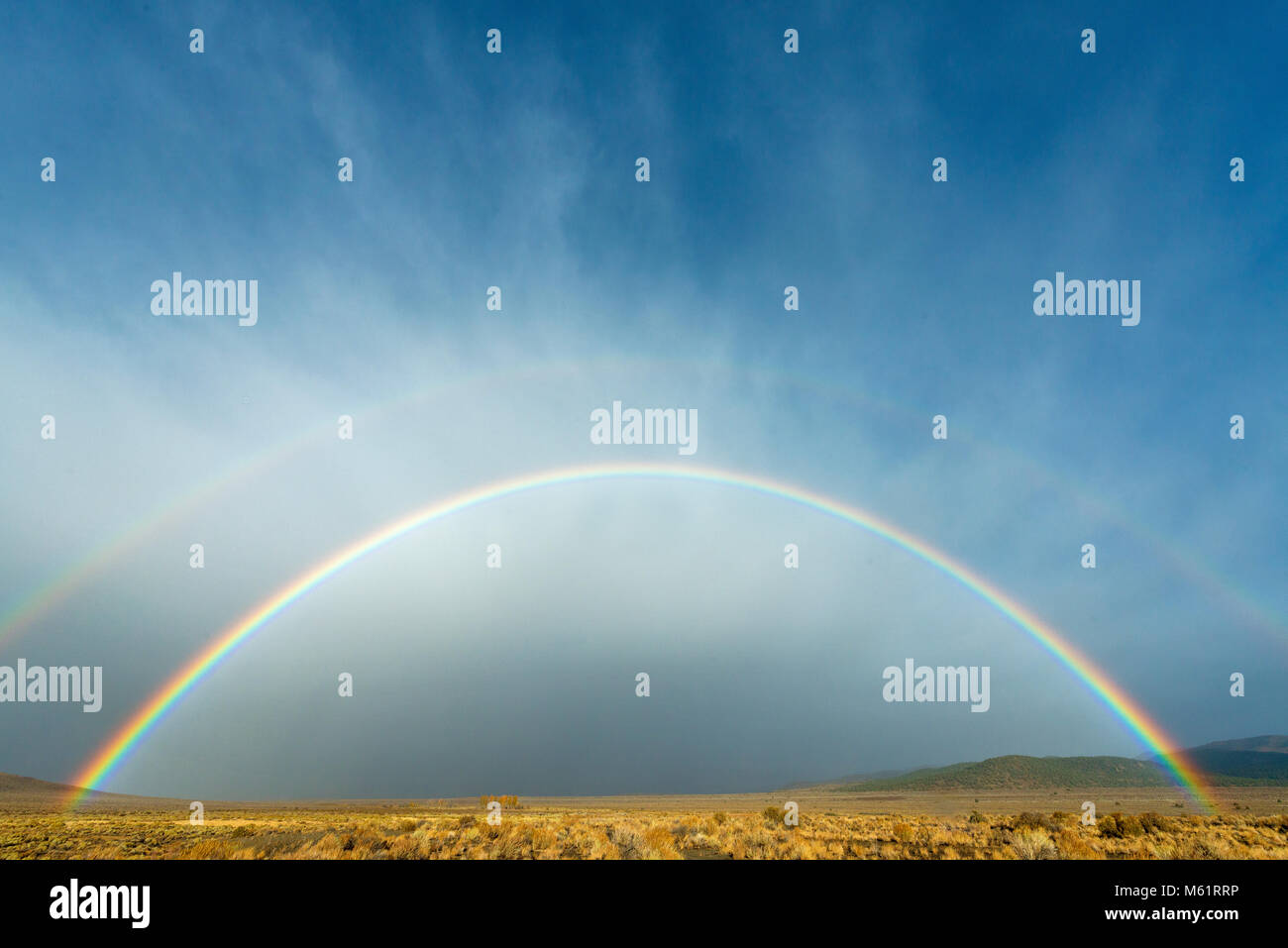 Double Rainbow, Eastern Sierra, Mono Basin National Forest Scenic Area, Inyo National Forest, California - Stock Image