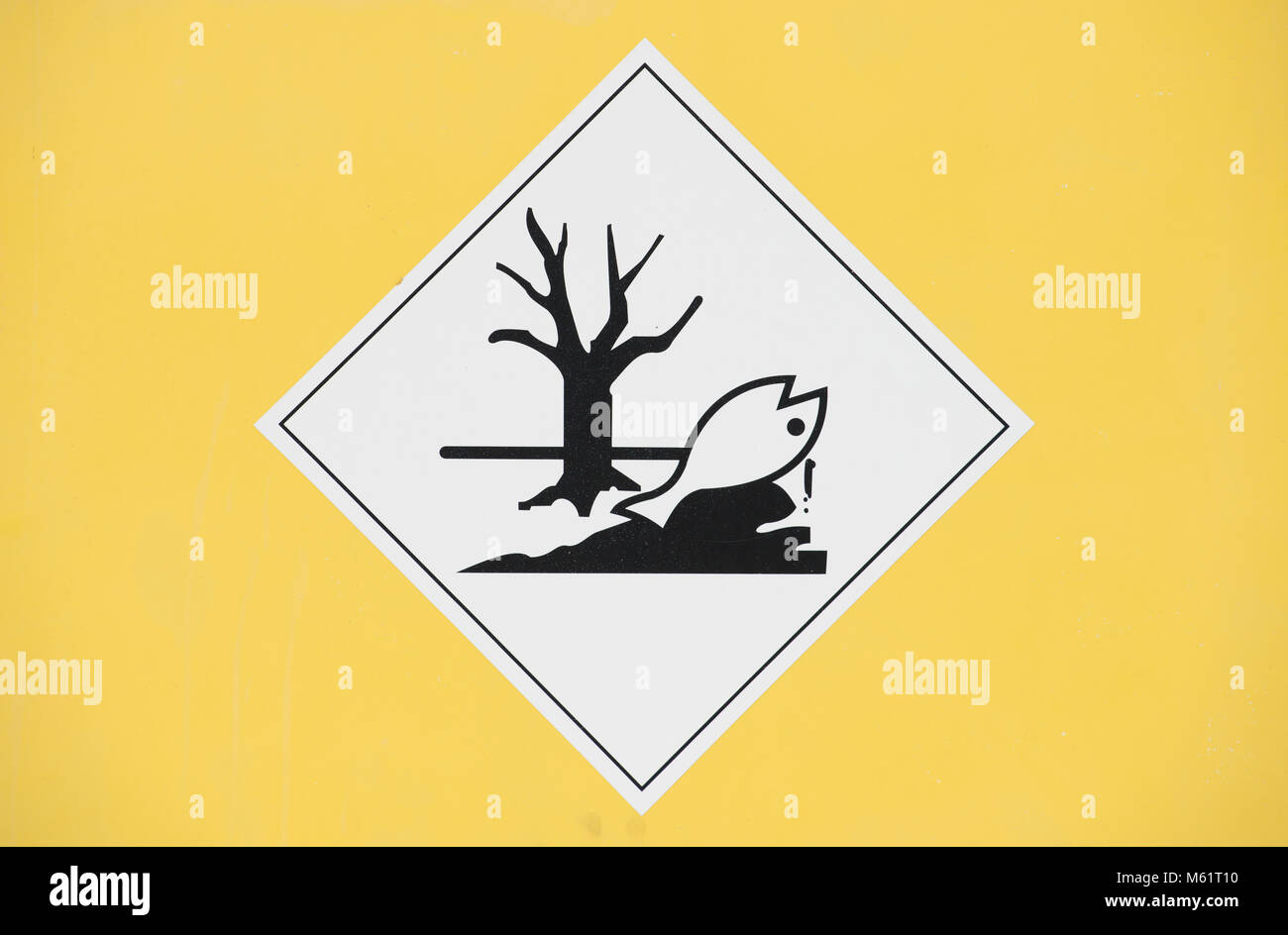 label indicating marine pollutant liquid Environmentally hazardous substance on a clean background - Stock Image