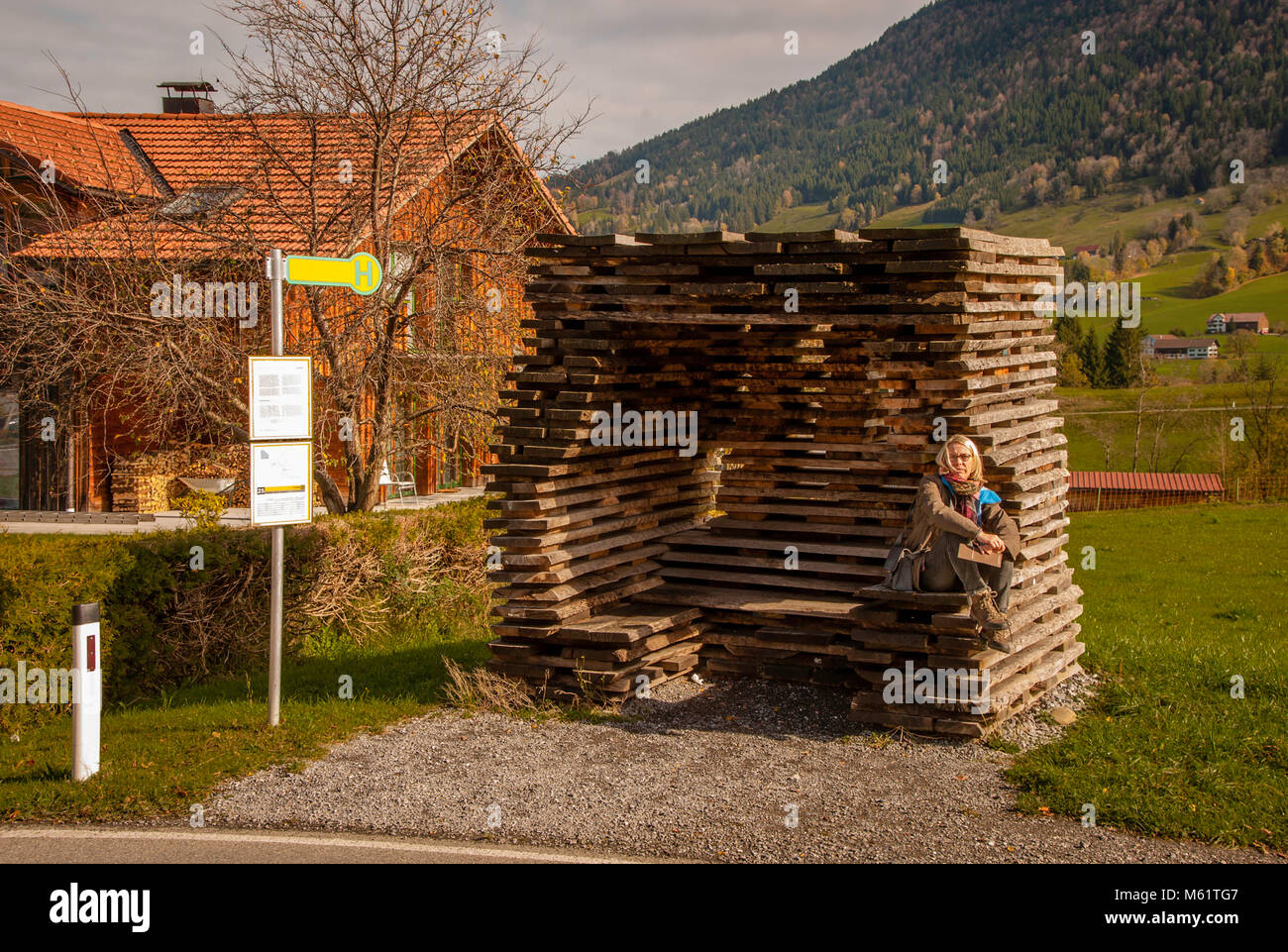 Bus shelter as art object in Krumbach, Austria - Stock Image