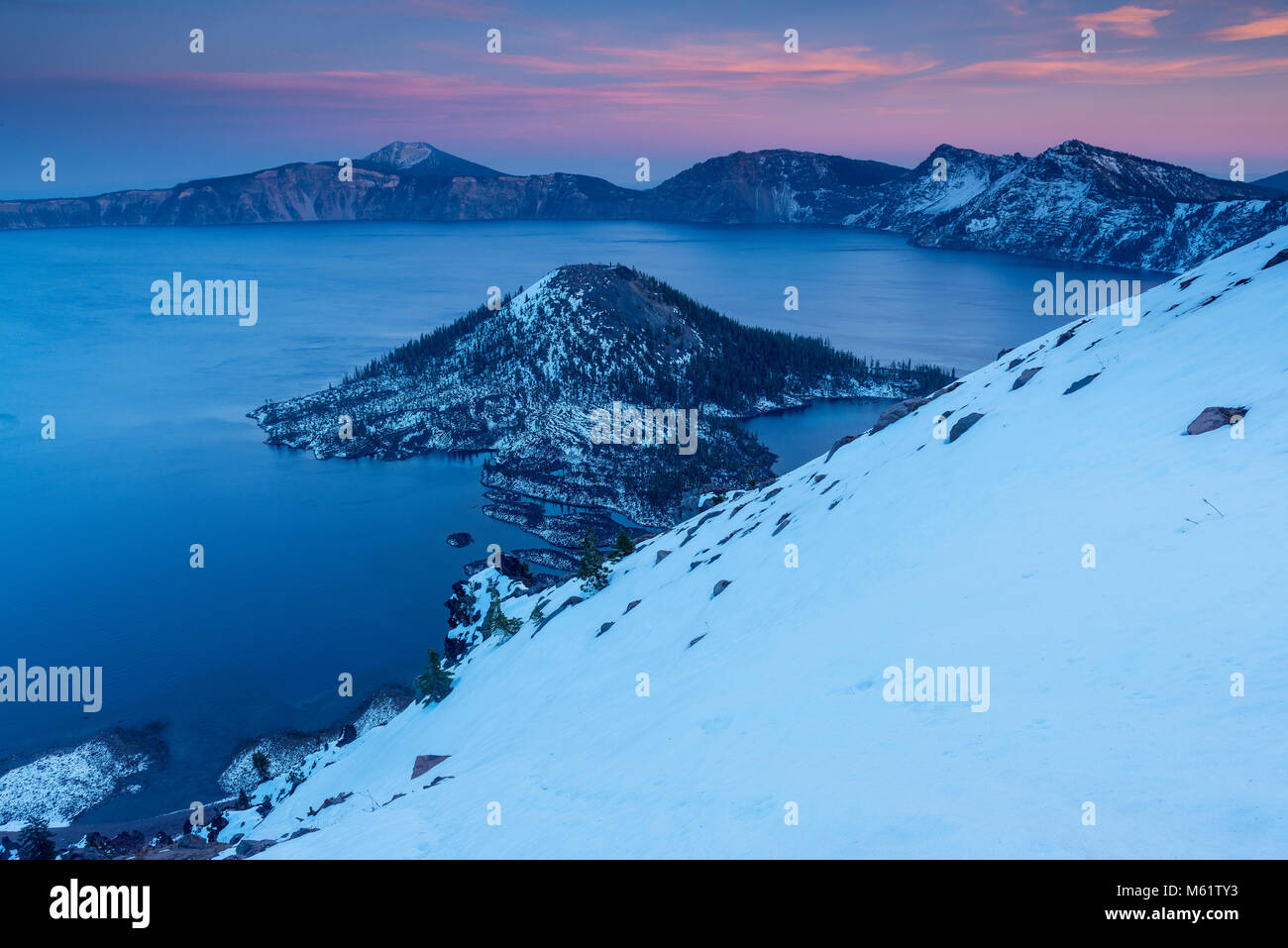 Dusk, Wizard Island, Crater Lake, Crater Lake National Park, Oregon - Stock Image