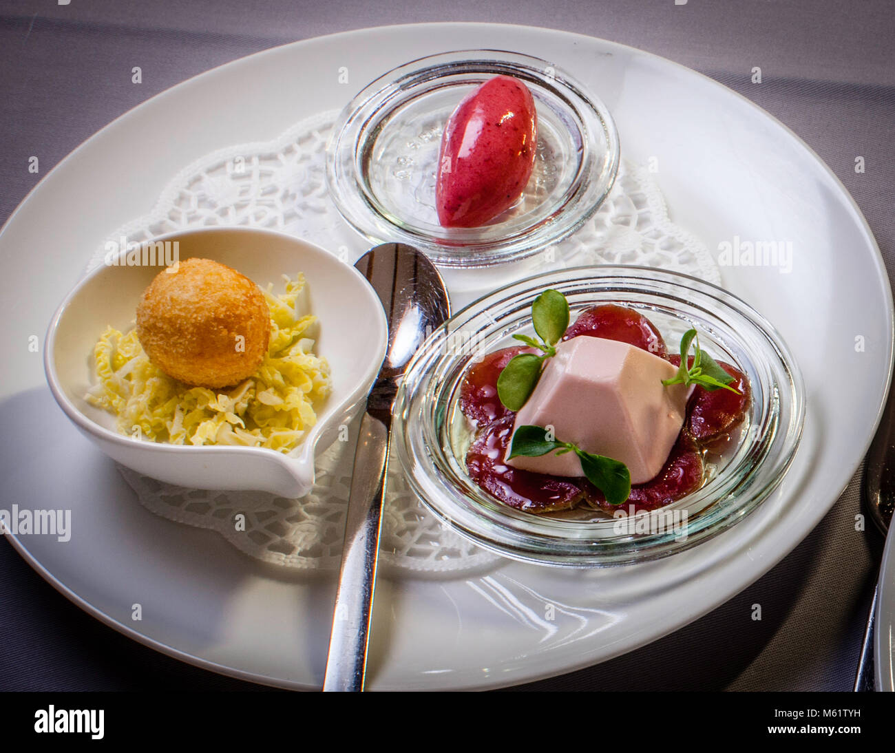 fine dining in Bavaria, Oberstdorf Restaurant Maximilinas Michelin Star chef dinner Tobias Eisele - Stock Image