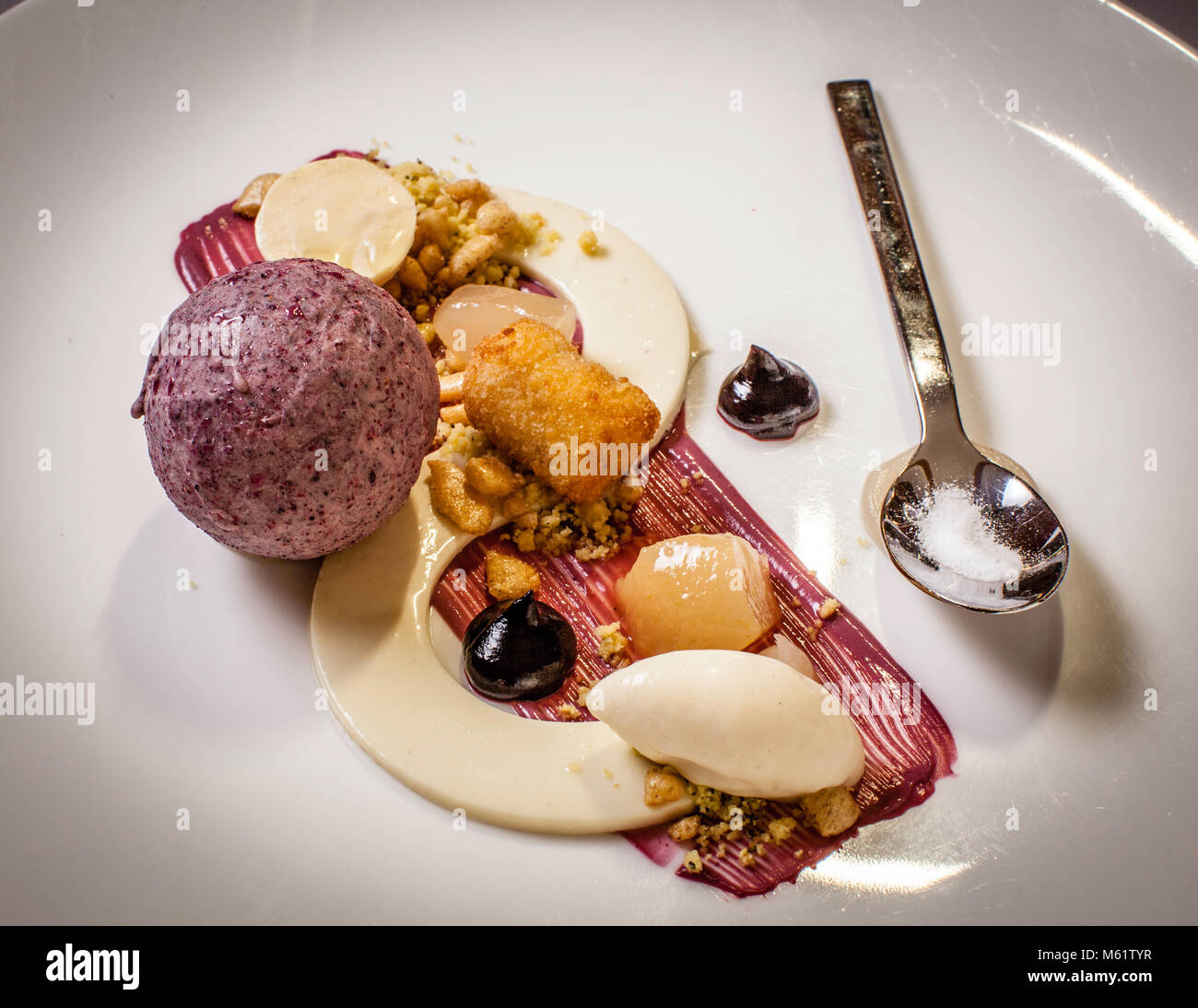 fine dining in Oberstdorf Restaurant Maximilinas Michelin Star chef dinner Tobias Eisele, dessert with blackcurrent - Stock Image
