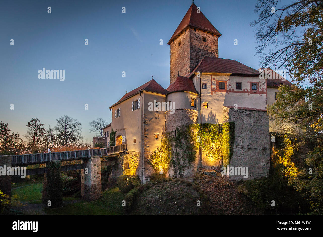 Burg Wernberg German castle in Bavaria in a waft of mist - Stock Image