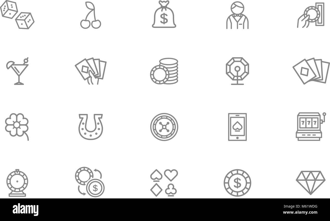 Set of vector gambling and casino line icons. Dice, horseshoe, clover, roulette, jackpot slot machine, lottery bingo, - Stock Image