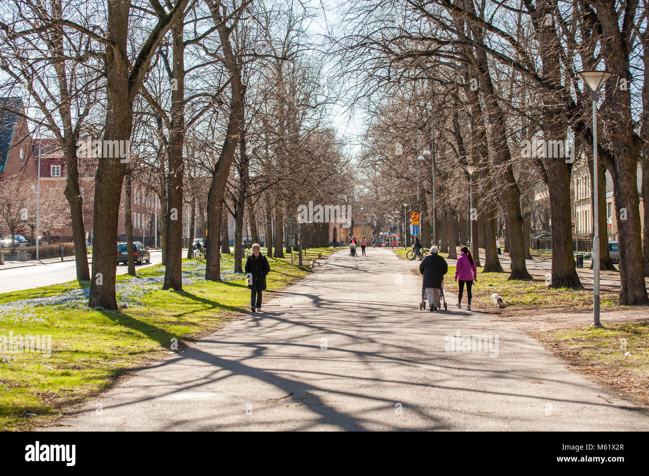 The Southern Promenade during spring in Norrkoping, Sweden. The Promenades in Norrkoping were inspired by Paris - Stock Image