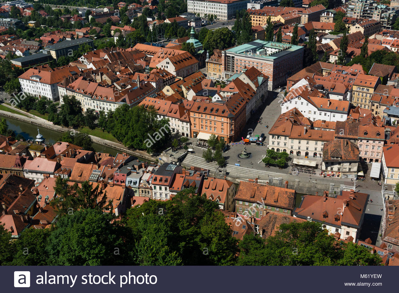 A view of the old town from the Castle of Ljubljana. - Stock Image