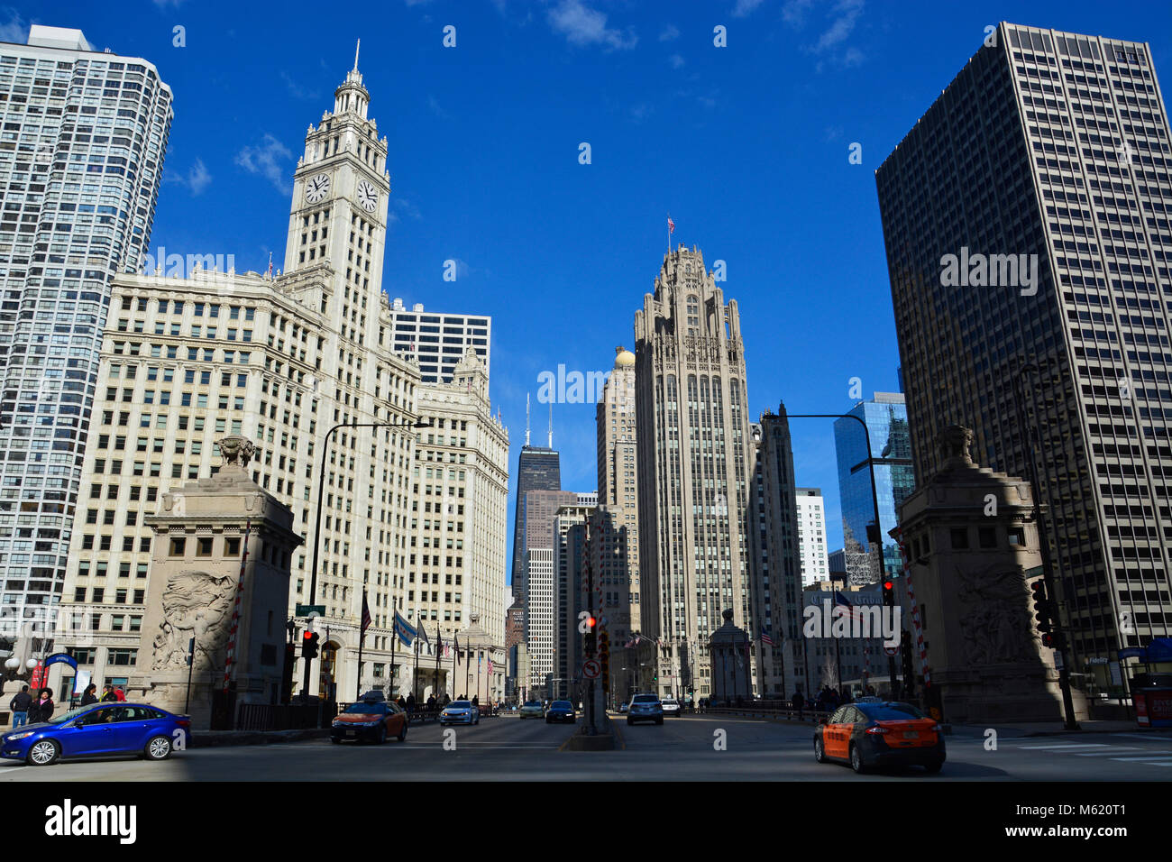 The view north up the iconic Magnificent Mile shopping district from the Michigan Avenue bridge in Chicago. - Stock Image