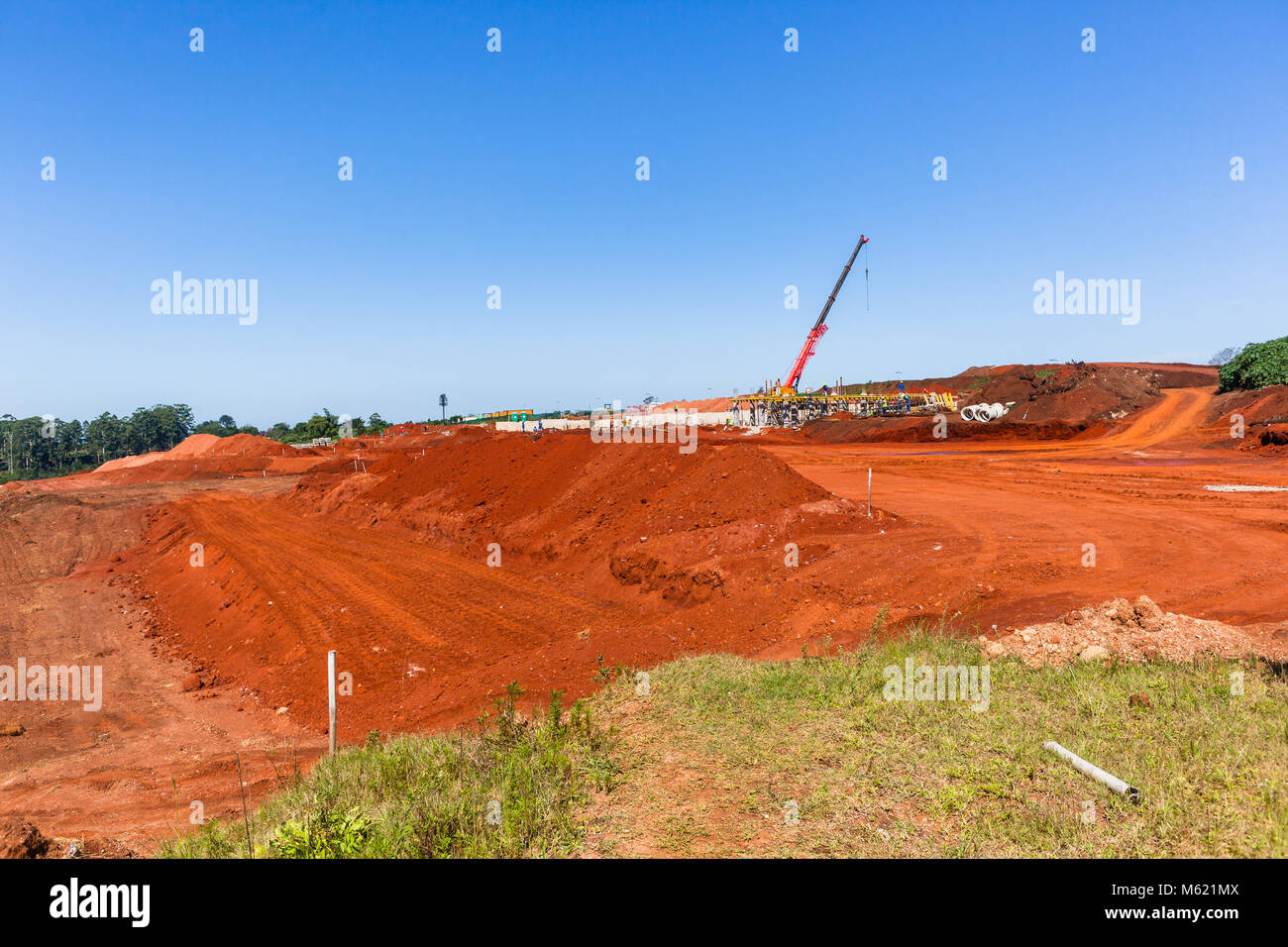 Construction earthworks new building housing engineering projects with concrete foundations been laid in countryside, Stock Photo