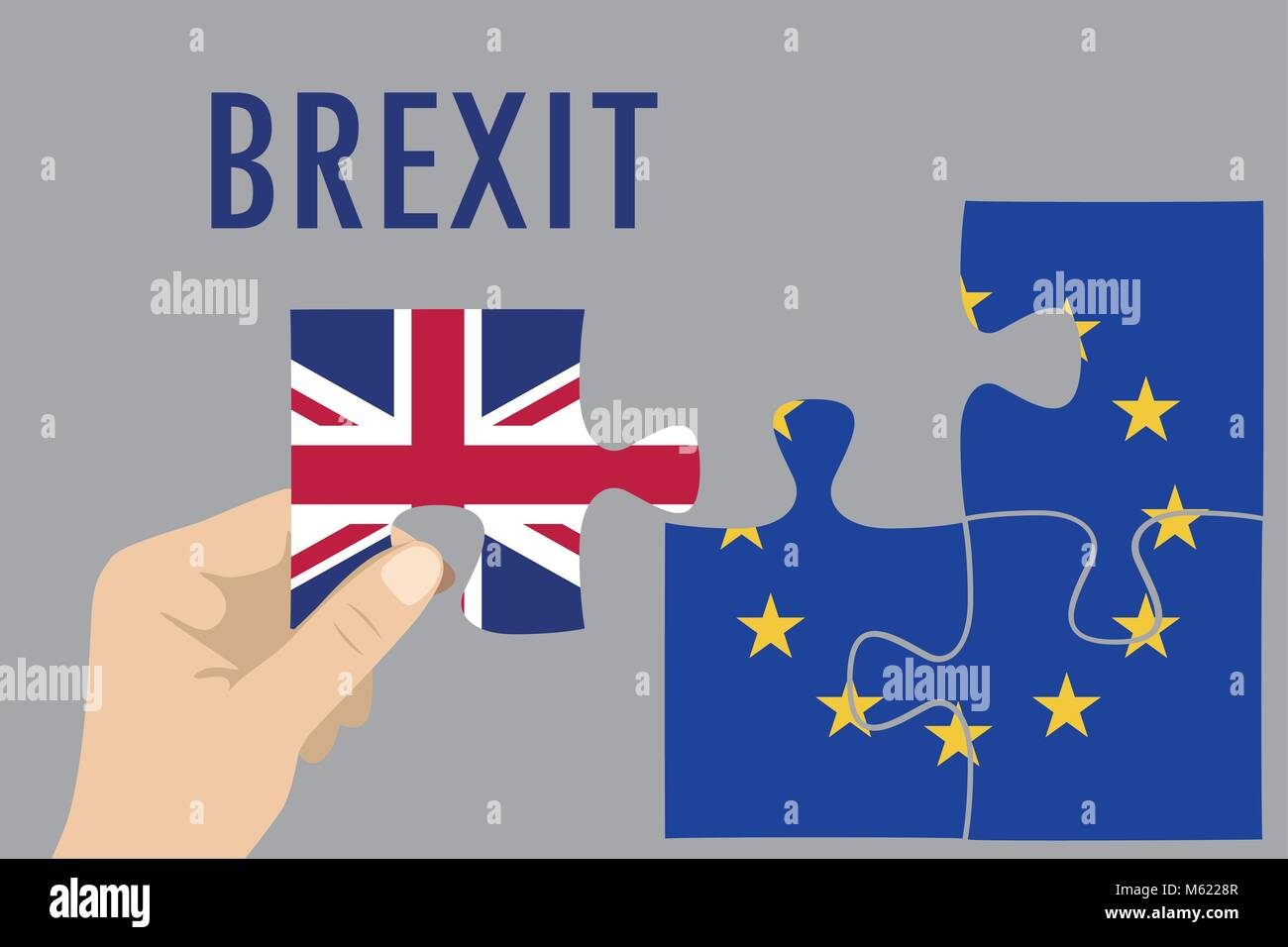 Brexit puzzle concept. British and European Union flag , referendum. Vector illustration background. Stock Vector