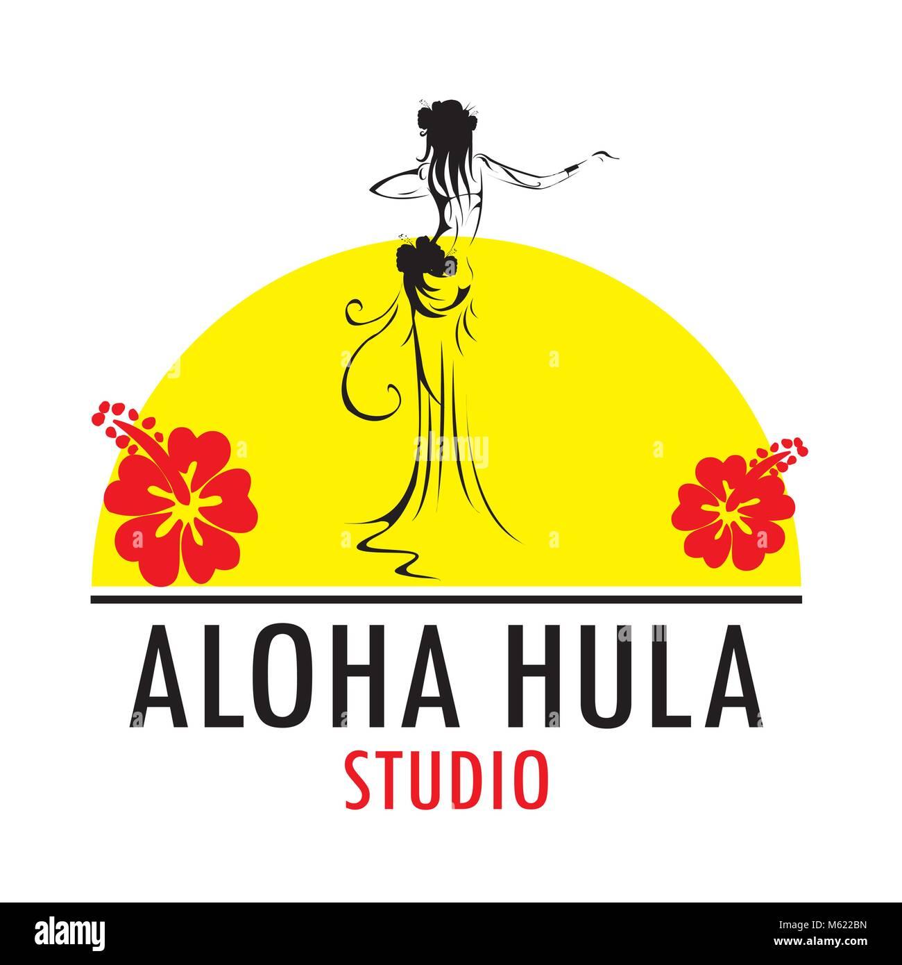 Hawaii vector logo design template. Beautiful Aloha Hula Studiolicon. - Stock Vector