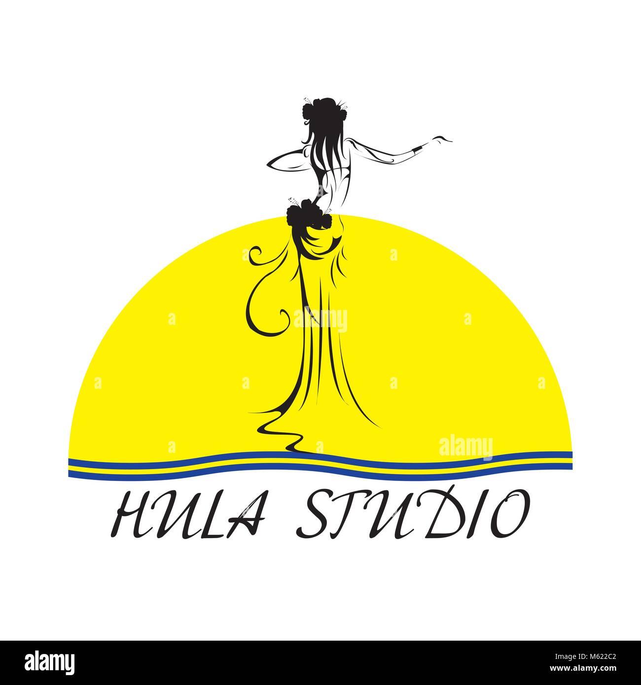 Hawaii vector logo design template. Beautiful Hula studio icon. - Stock Vector