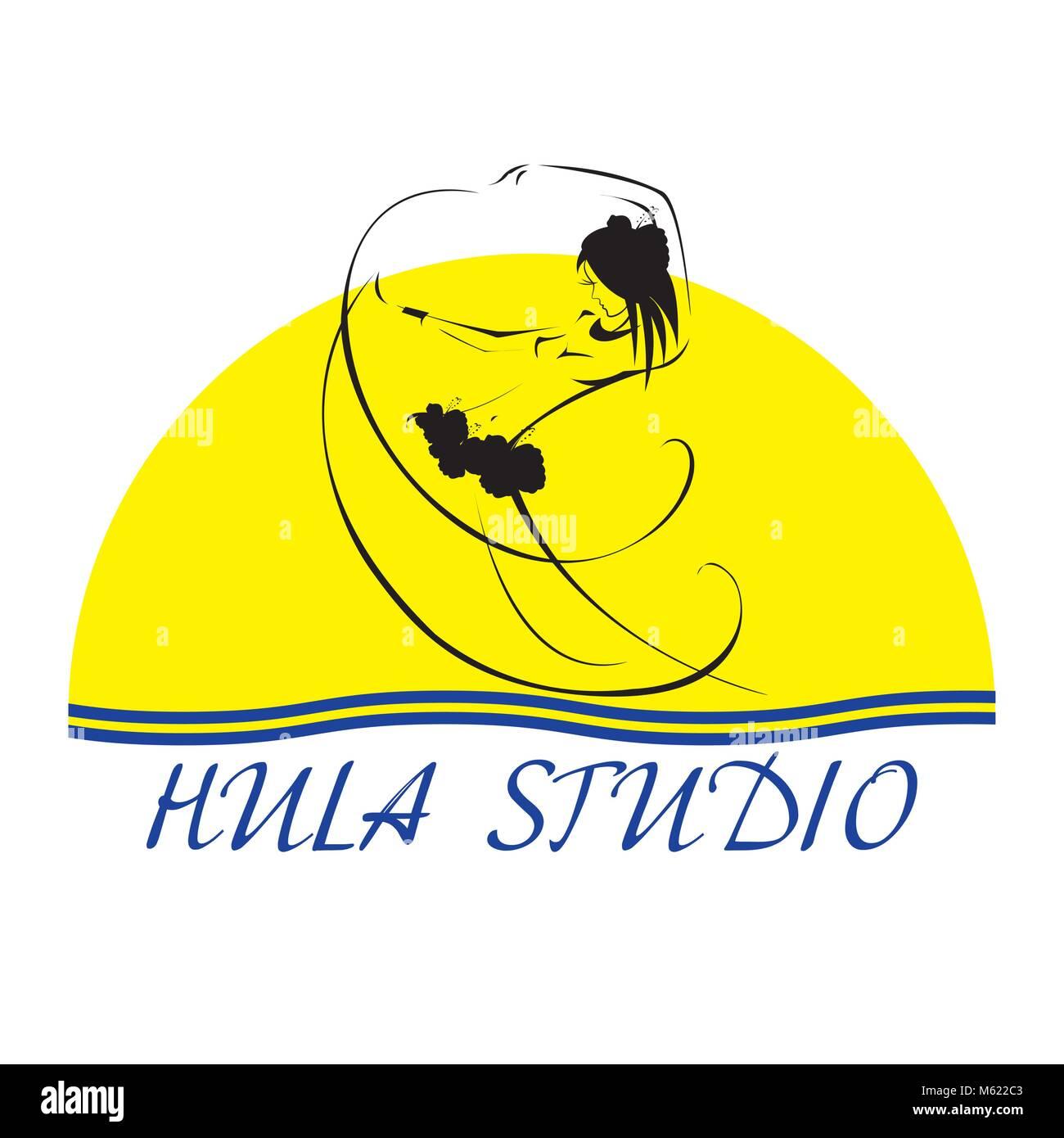 Hawaii vector logo design template. Hula studio icon. - Stock Vector