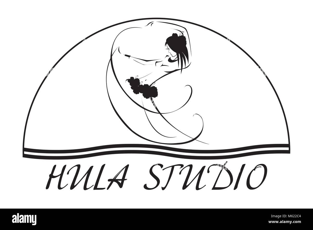 Hawaii vector logo design template. Hula studio icon. - Stock Image