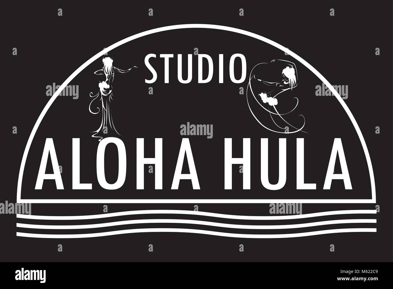 Hawaii vector logo design template.Studio aloha hula icon. - Stock Vector