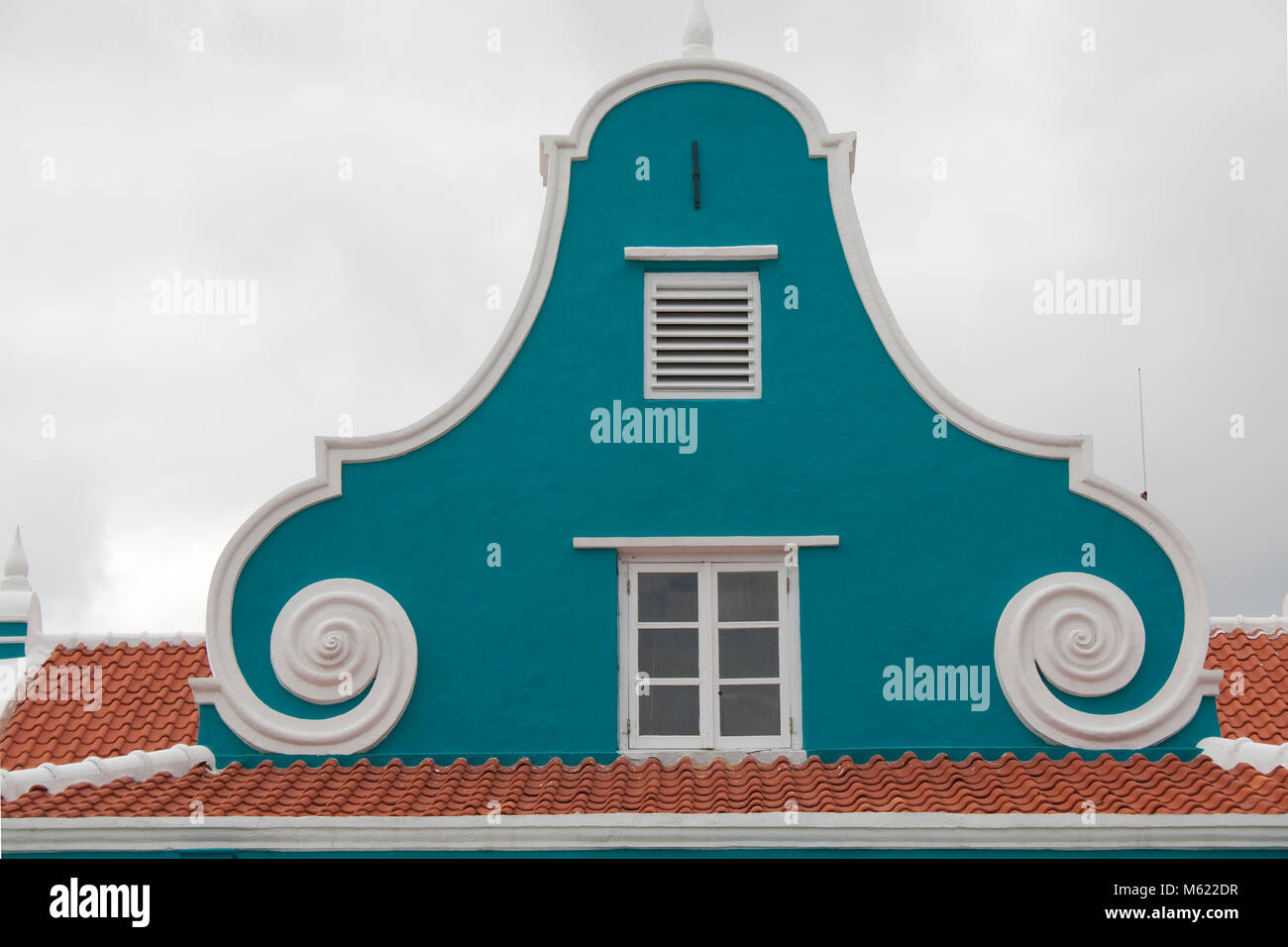 Typical gable of a historical building, netherland-caribbean colonial style, Punda district, Willemstad, Curacao, - Stock Image