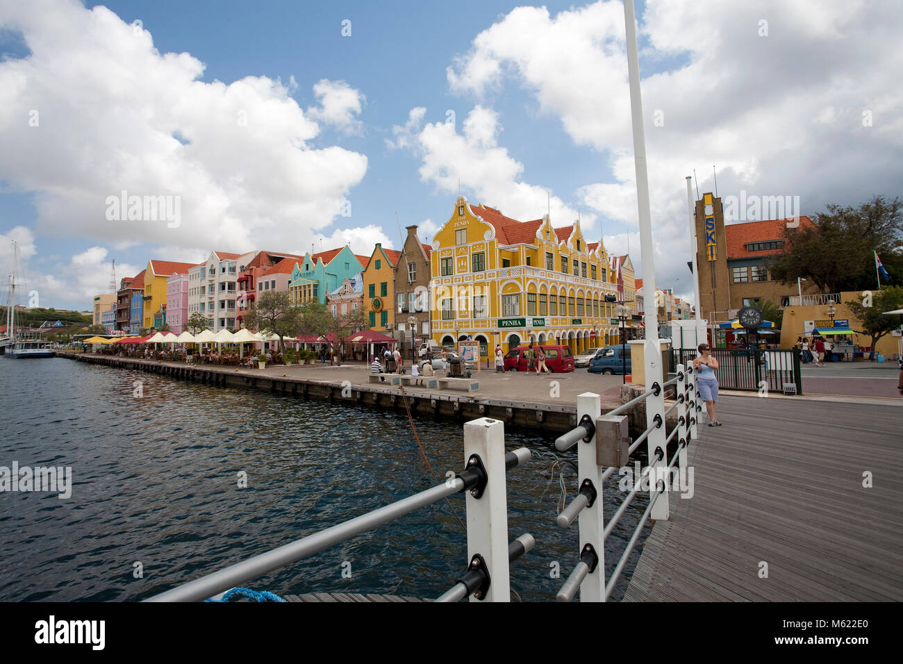 View from Queen Emma bridge on trade arcade, historical colonial buildings at Pundsa district, Willemstad, Curacao, - Stock Image