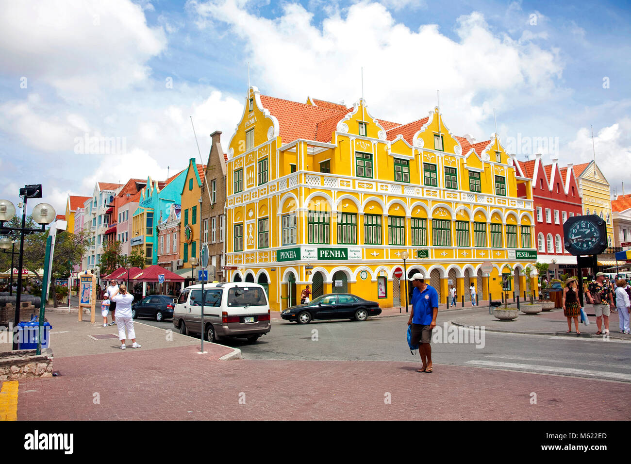 Penha building (built 1708) at trade arcade historical colonial buildings Punda district, Willemstad, Curacao, Netherlands - Stock Image