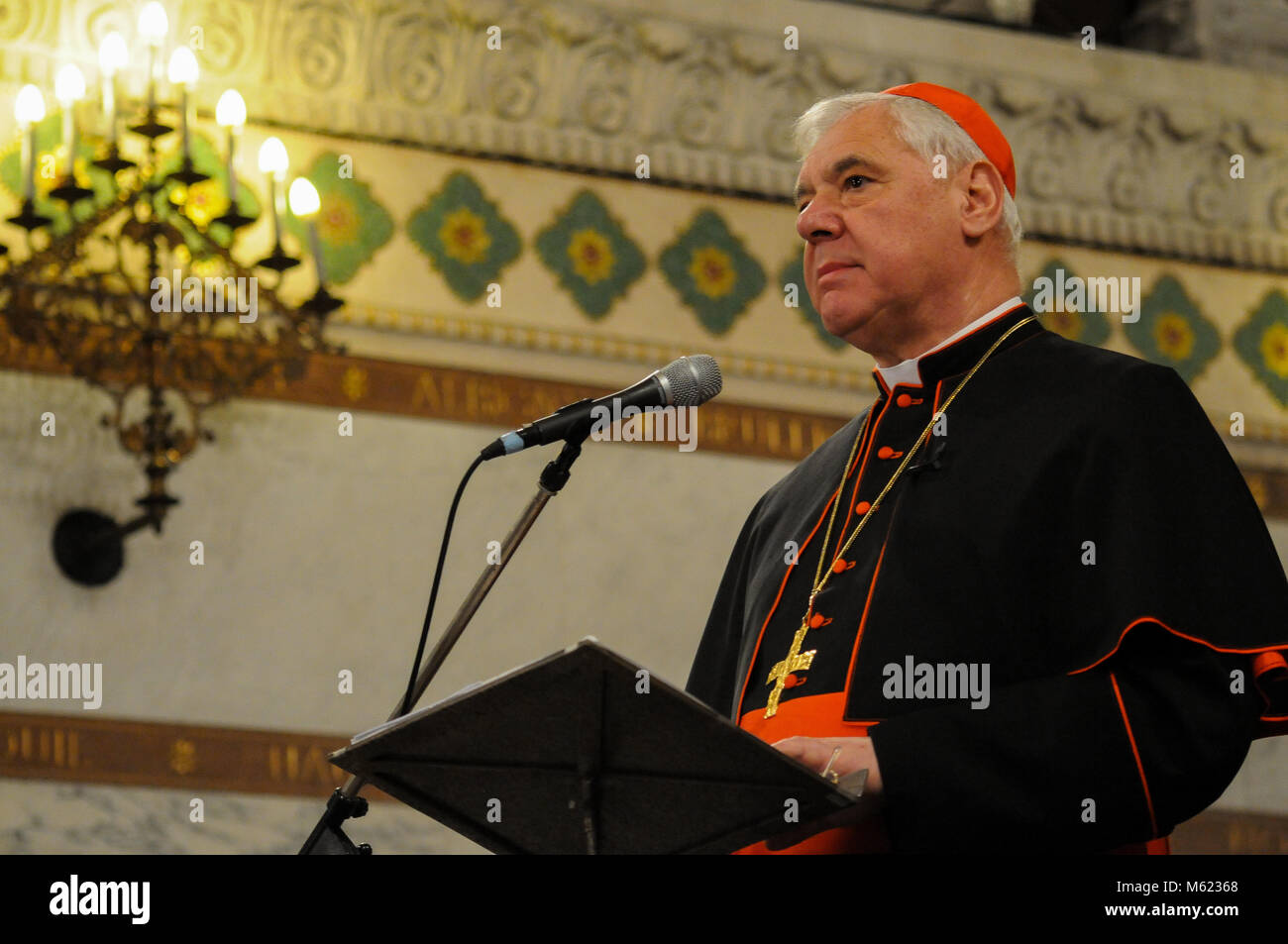 German Cardinal Gerhard Muller talks in Lyon, France - Stock Image