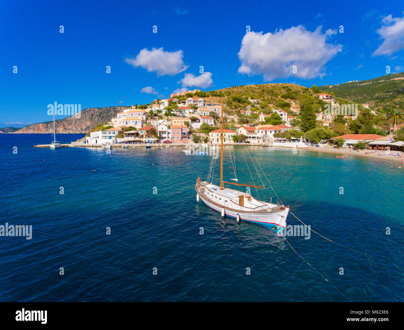 Assos village and port in Kefalonia Greece - Stock Image