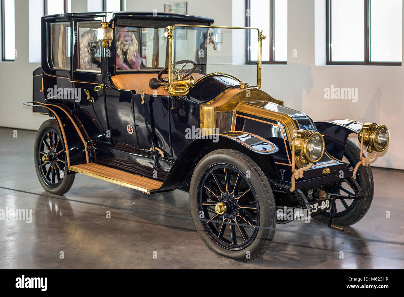 Malaga, Spain - December 7, 2016: Vintage Antique 1911 Renault AX France car displayed at Malaga Automobile and - Stock Image