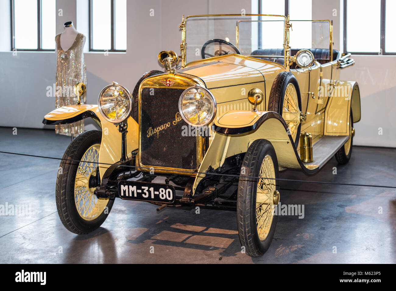 Malaga, Spain - December 7, 2016: Vintage 1917 Hispano-Suiza Spanish car displayed at Malaga Automobile and Fashion - Stock Image