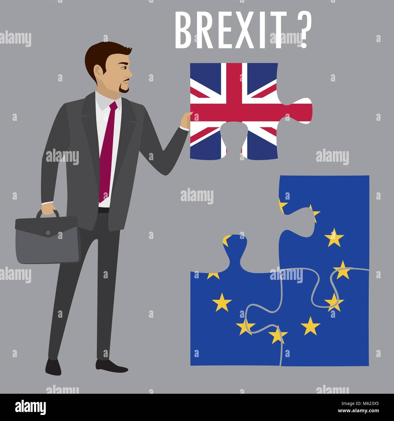 Brexit puzzle concept. British and European Union flag , referendum. Vector illustration background. - Stock Image