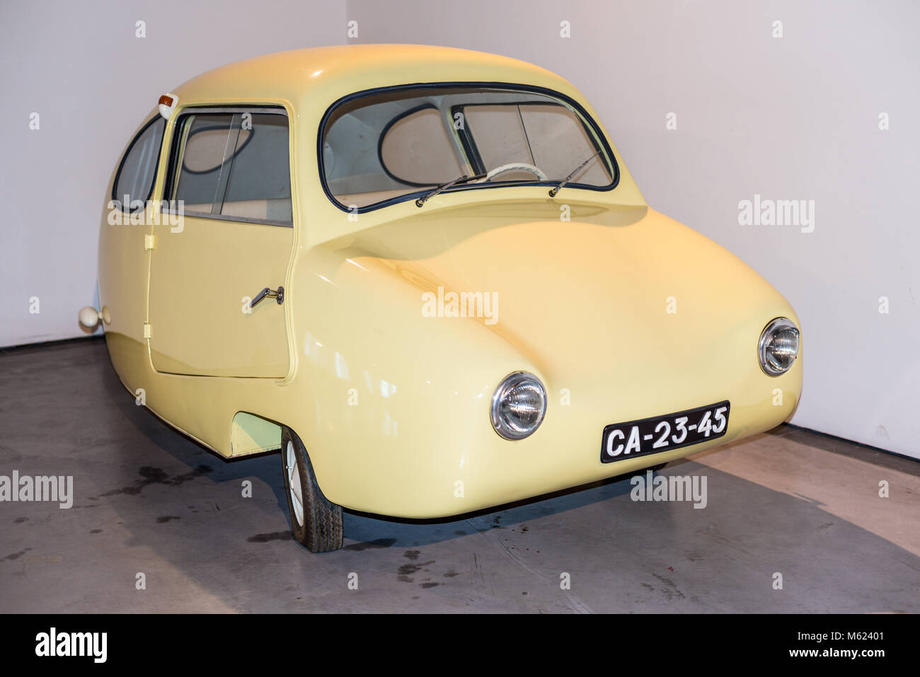Malaga, Spain - December 7, 2016: The egg Fuldamobil car (model 1955) Germany displayed at Malaga Automobile and - Stock Image
