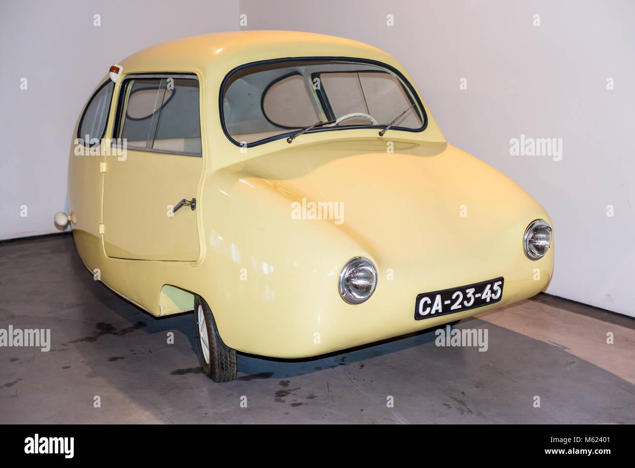 Malaga, Spain - December 7, 2016: The egg Fuldamobil car (model 1955) Germany displayed at Malaga Automobile and - Stock Image