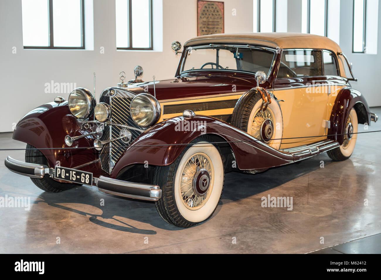 Malaga, Spain - December 7, 2016: Vintage Mercedes-Benz 540K (model 1937) Germany car displayed at Malaga Automobile - Stock Image