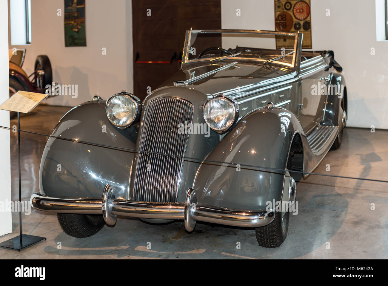 Malaga, Spain - December 7, 2016: Lancia Italy 1934 (Mussolini's parade car) in Automobile Museum of Malaga, - Stock Image