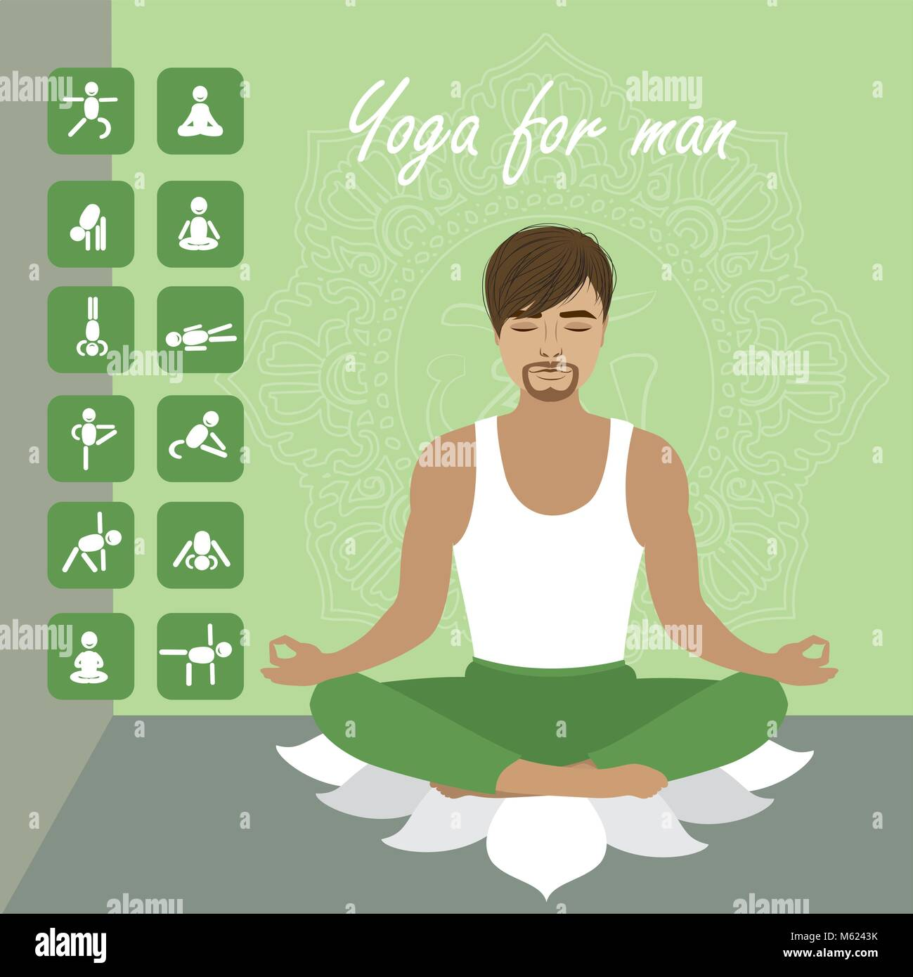 Man In The Lotus Pose And Men Icons In Different Yoga Positions Stock Vector Image Art Alamy
