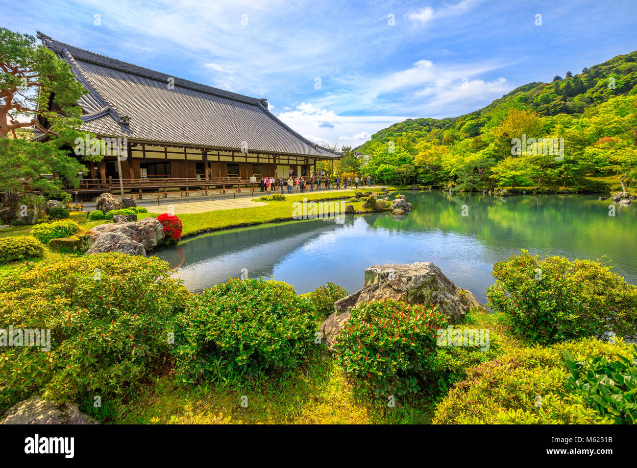 Kyoto, Japan - April 27, 2017: Hojo Hall and picturesque Sogen Garden or Sogenchi Teien with a circular promenade - Stock Image