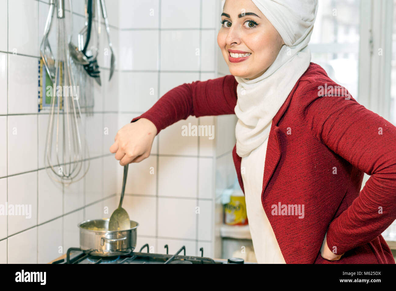 Malakeh Jazmati, Syrian TV-Star of a Cooking Show, cookbook author, refugee, living in exile in Berlin, Germany. - Stock Image